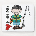 Black Hair Boy I Love Fishing Mouse Pad