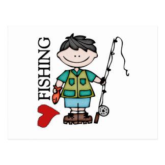 Black Hair Boy I Love Fishing Post Cards