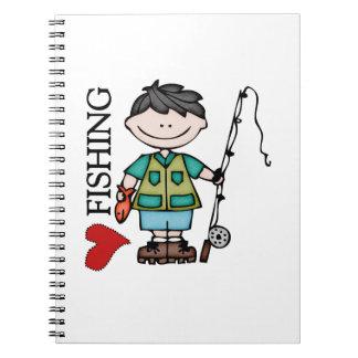 Black Hair Boy I Love Fishing Spiral Notebook