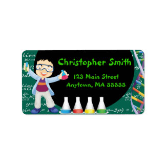 Black Hair Boy Mad Scientist Party Address Labels