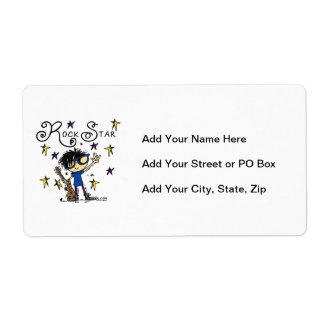 Black Hair Boy Rock Star Personalized Shipping Label