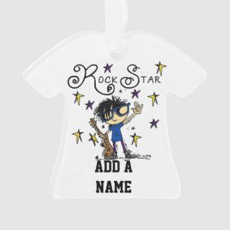 Black Hair Boy Rock Star Ornament