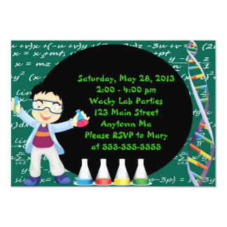 "Black Hair Boy Scientist Birthday Party Invitation 5"" X 7"" Invitation Card"