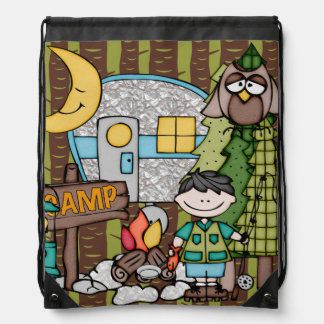 Black Hair Boy's Camping Adventure Drawstring Bag