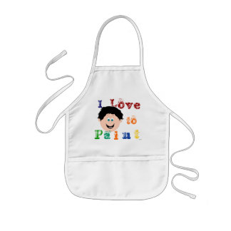 Black Hair Boys Smiling Face Painting Kids' Apron