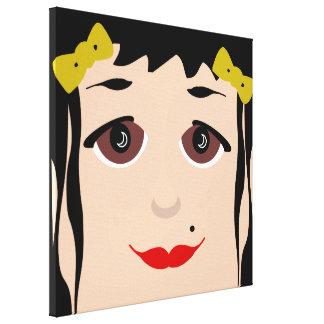 Black Hair Brown Eyes Girly Cartoon Pop Art Face Canvas Print