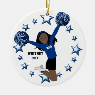 Black Hair Cheerleader Pom Poms In Blue & Black Ceramic Ornament