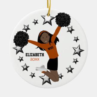 Black Hair Cheerleader Pom Poms In Orange & Black Ceramic Ornament