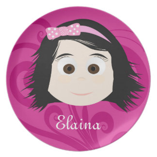 Black Hair Dark Brown Eyes Girls Melamine Plate