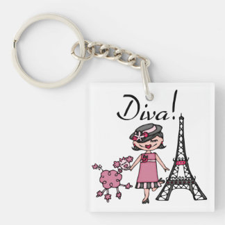 Black Hair Diva Double-Sided Square Acrylic Keychain