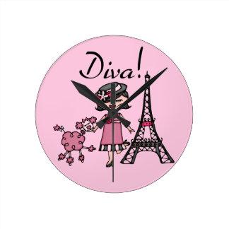 Black Hair Diva Round Clock