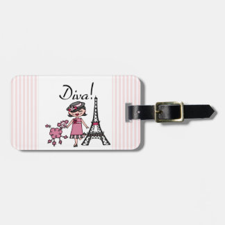 Black Hair Diva Tag For Luggage
