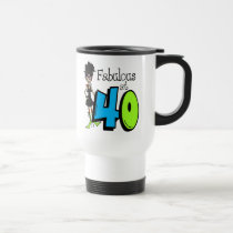 Black Hair Fabulous at 40 Birthday Travel Mug