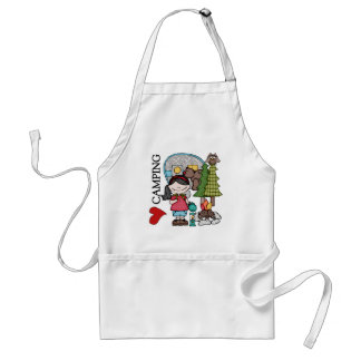 Black Hair Girl I Love Camping Adult Apron