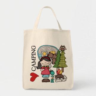 Black Hair Girl I Love Camping Tote Bags