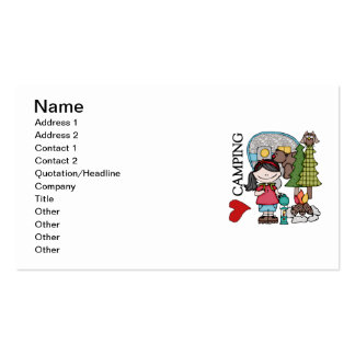 Black Hair Girl I Love Camping Business Card Templates