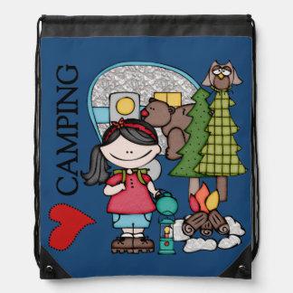 Black Hair Girl I Love Camping Drawstring Bag