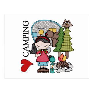 Black Hair Girl I Love Camping Postcard
