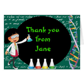 Black Hair Girl Mad Scientist Thank You Note Card
