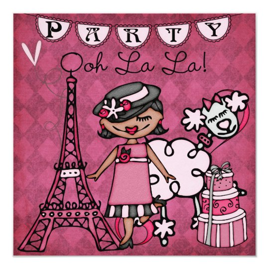 Black Hair Girl Ooh La La Paris Birthday Invite