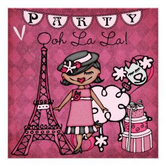 Black Hair Girl Ooh La La Paris Birthday Invite