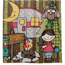 Black Hair Girl Outdoors Camping Vacation Shower Curtain
