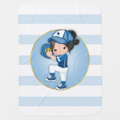 Black Hair Girls Blue Softball Baby Blanket