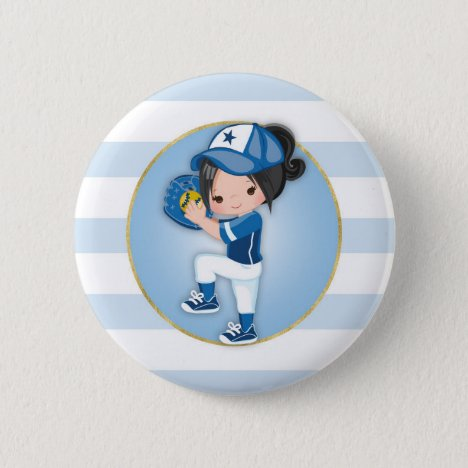 Black Hair Girls Blue Softball Button