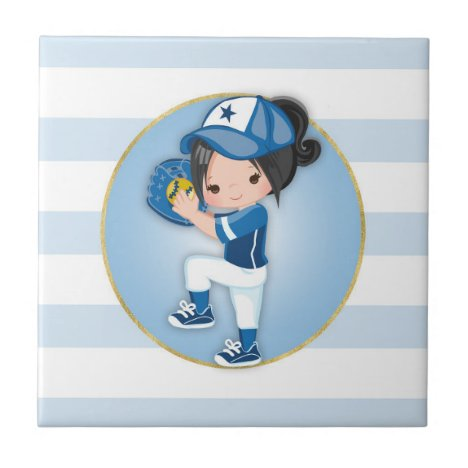 Black Hair Girls Blue Softball Ceramic Tile