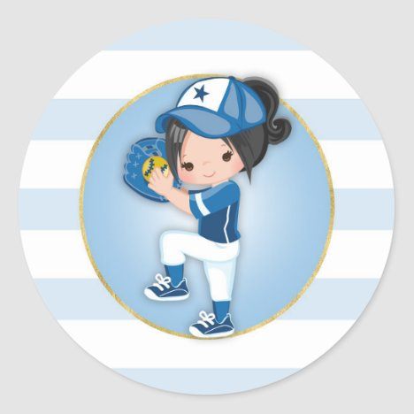 Black Hair Girls Blue Softball Classic Round Sticker