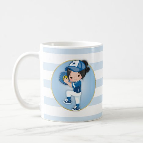 Black Hair Girls Blue Softball Coffee Mug