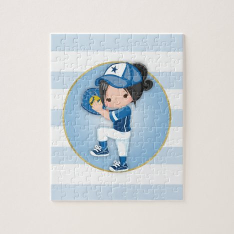 Black Hair Girls Blue Softball Jigsaw Puzzle