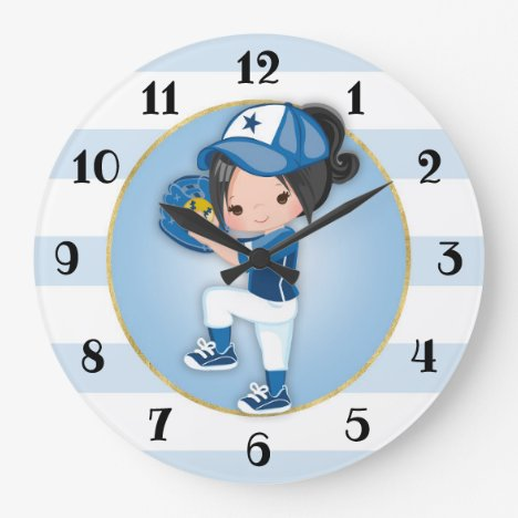 Black Hair Girls Blue Softball Large Clock