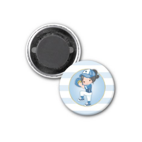 Black Hair Girls Blue Softball Magnet