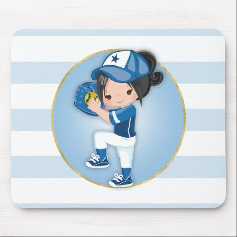 Black Hair Girls Blue Softball Mouse Pad