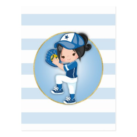 Black Hair Girls Blue Softball Postcard