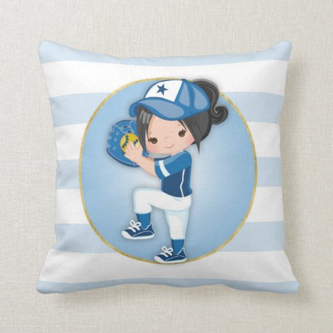 Black Hair Girls Blue Softball Throw Pillow