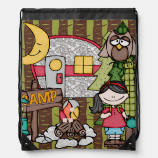 Black Hair Girl's Camping Adventure Drawstring Bag