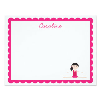 Black Hair Gymnast | Flat Note Card