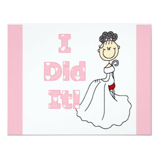 Black Hair I Did It Bride T-shirts and Gifts Personalized Announcement