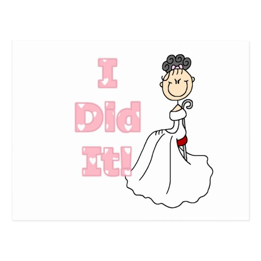 Black Hair I Did It Bride T-shirts and Gifts Postcard