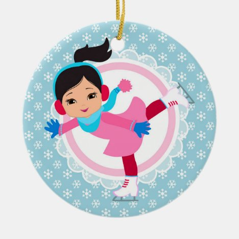 Black Hair Ice Skater - Winter Sports Skating Ceramic Ornament