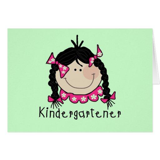 Black Hair Kindergartener Greeting Card