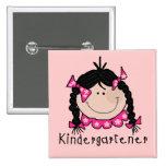 Black Hair Kindergartener Pinback Buttons