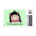 Black Hair Kindergartener Postage Stamp
