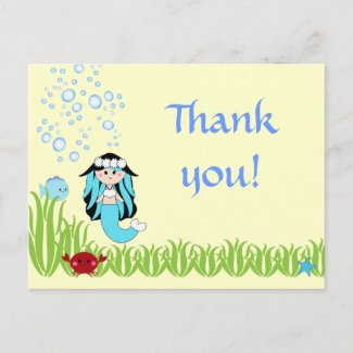 Black hair mermaid birthday thank you postcard postcard
