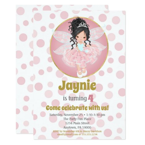 Black Hair Pink Fairy Girls Birthday Invitation