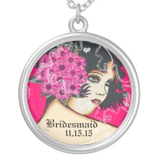 Black Hair Pink Wedding Bridesmaid Necklace