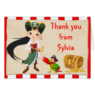 Black Hair Pirate Girl Thank You Note Card