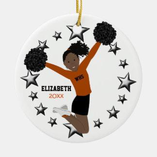 Black Hair Ponytail Pom Poms In Orange & Black Ceramic Ornament